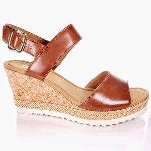NIB Gabor Sz 8.5 Leather Ankle Strap Wedge Sandal